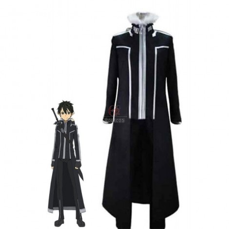Sword Art Online Kirigaya Kazuto Black Uniform Cosplay Costume
