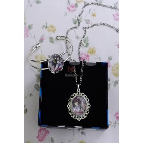 Angel Beats Anime Cabochon Necklace And Bracelet