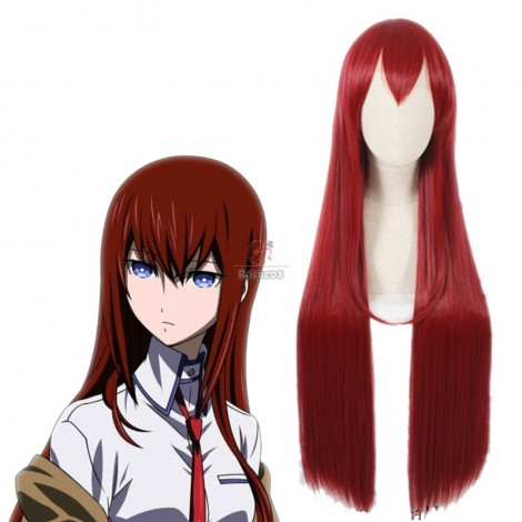 100 cm Long Steins;Gate 0 Kurisu Makise Anime Crimson Straight Cosplay Wigs