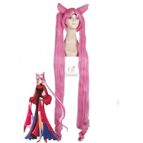 130cm Long Sailor Moon Cosplay Wigs Pink Woman Wigs