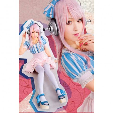 Super Sonico Blue And Pink Stripe Tall Waist Wavy Skirt Cosplay Costume