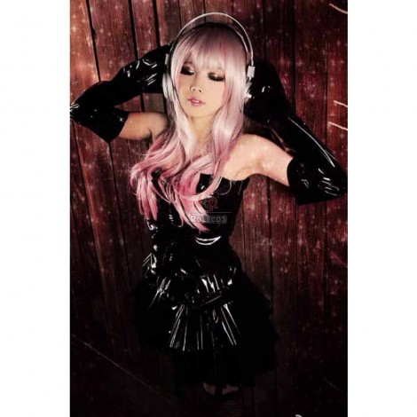 Super Sonico Black Palodge Leather Dress Cosplay Costume