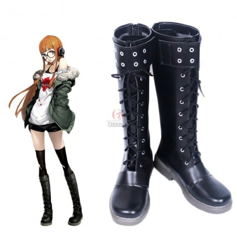 Futaba Sakura Persona 5 Blcak Boots Game Cosplay Shoes