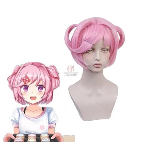 DDLC! Natsuki Cosplay Short Pink Synthetic DDLC Wigs